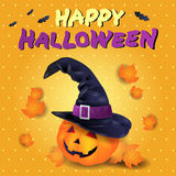 Halloween card with pumpkin, hat and text Royalty Free Stock Photography