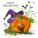 Halloween card with pumpkin Stock Image