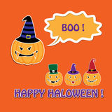 Halloween card with pumpkins in hats Royalty Free Stock Photos
