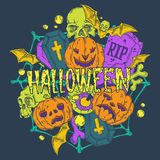 Halloween card with pumpkins and horror elements Royalty Free Stock Photo