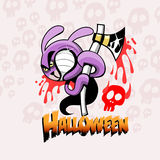 Halloween card with rabbit and ax Royalty Free Stock Photos