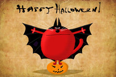 Halloween Card Red Cat in Bat Suit Royalty Free Stock Photos