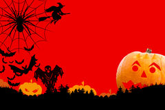 Halloween card. Red Halloween card with pumpkin vector illustration