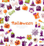 Halloween Card. Set of Bright Signs, Icons and Objects Stock Photos