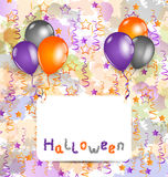 Halloween card with set colorful balloons and tins Stock Image