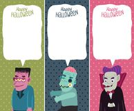 Halloween card set with monster, zombie, Dracula. Royalty Free Stock Photos