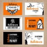 Halloween Card Set Stock Photos