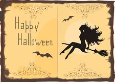 Halloween Card. With silhouette of beautiful witch Stock Photos