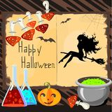 Halloween Card with silhouette of beautiful witch. Fly agaric and potion Stock Image
