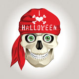Halloween card with a skull wearing a bandana Royalty Free Stock Image