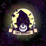 Halloween card with skull witch. Royalty Free Stock Images