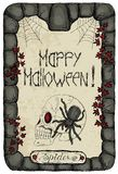 Halloween card with spider on skull Royalty Free Stock Photography