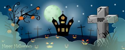 Halloween card with spooky things. Over dark background royalty free stock image