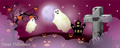 Halloween card with spooky things. Over dark background stock photography