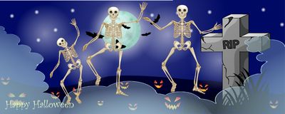 Halloween card with spooky things. Over dark background stock photos