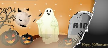 Halloween card with spooky things. Over dark background royalty free stock photo