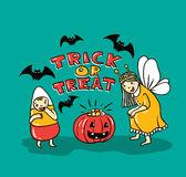 Halloween card with stylish lettering - ' Trick or tread '. Royalty Free Stock Image