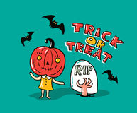Halloween card with stylish lettering - ' Trick or tread '. Stock Images