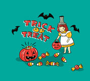 Halloween card with stylish lettering - ' Trick or tread '. Royalty Free Stock Images