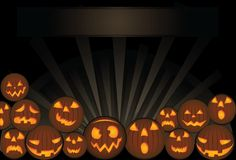 Halloween card template - orange pumpkins Stock Images