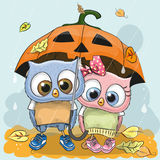 Halloween card Two cute cartoon Owls Stock Photo