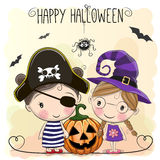 Halloween card with two girls Stock Photos