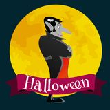 Halloween card with vampire on the full moon, Draculas monster in cloak flat vector illustrations, good for Halloween Royalty Free Stock Image