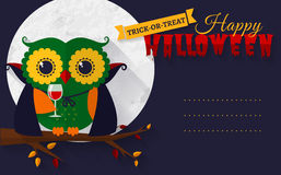 Halloween card with vampire owl. Stock Images