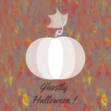 Halloween card with whitish ghostly pumpkin. Whitish pumpkin on yellow orange brown gray spotted background with dark inscription Ghostly Halloween Royalty Free Stock Photo