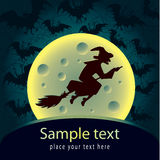 Halloween card with witch. Halloween decorative card with witch vector illustration