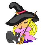 Halloween card with witch broom cat Royalty Free Stock Image