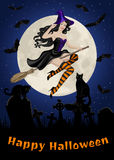 Halloween card with witch flying on broom, black cats and bats in cemetery Stock Photo