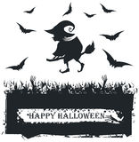 Halloween card with witch silhouette on white background. Vector image with Flying witch silhouette On Broom Royalty Free Stock Photos