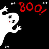 Halloween Card With Cute Ghost Stock Photography