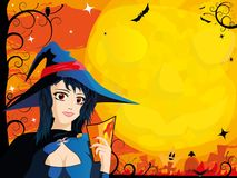 Halloween card with young witch Stock Photography