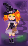 Halloween card with young witch Royalty Free Stock Photography