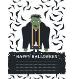 Halloween card with  Zombie, bats and place for your text isolat Stock Photography