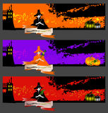 Halloween cards, banners or backgrounds set. Vector banners or invitation cards set with cute witches. One witch is holding a symbol of Halloween - a pumpkin Royalty Free Stock Images