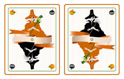 Halloween cards with pretty witches. Vector illustration of witches in form of playing cards. One witch is holding a symbol of Halloween - a pumpkin flower, the Royalty Free Stock Photography