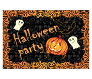 Halloween cards with pumpkin and ghosts Royalty Free Stock Photos