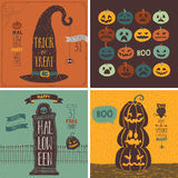 Halloween Cards set - hand drawn style. Royalty Free Stock Photos