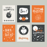 Halloween cards set. Vector Halloween greeting card, flyer, banner, poster templates. Hand drawn traditional symbols and handwritten lettering. Vector collection Stock Images