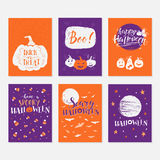 Halloween cards set. Vector Halloween greeting card, flyer, banner, poster templates. Hand drawn traditional symbols and handwritten lettering. Vector collection Stock Image