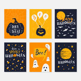 Halloween cards set. Vector Halloween greeting card, flyer, banner, poster templates with handwritten lettering. Vector collection with pumpkins, ghosts, owl Stock Photography