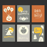 Halloween cards set. Vector Halloween hand drawn greeting card, flyer, banner, poster templates and handwritten lettering. Vector collection with pumpkins Vector Illustration