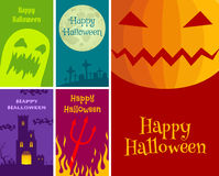 Halloween cards. Vector set Halloween greeting cards Stock Image