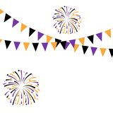 Halloween Carnival Background with Flags Garlands and Fireworks. Vector illustration. The concept of an invitation to a party in traditional colors with a royalty free illustration