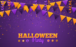 Halloween Carnival Background with Flags Garlands Royalty Free Stock Photo