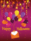 Halloween. Carnival with flags Garland with balloons. With an envelope and an invitation to a party. Greeting card. Empty space for text or your advertising Stock Photos