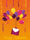 Halloween. Carnival with flags Garland with balloons with an envelope. And an invitation to a party. Greeting card. Empty space for text or your advertising Stock Photography